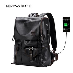 Mens Backpack External USB Charge Waterproof Leather Travel Functional Pack