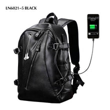 Load image into Gallery viewer, Mens Backpack External USB Charge Waterproof Leather Travel Functional Pack