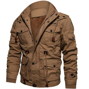 Mens Parka Fleece Multi-pocket Casual Quilted Jacket