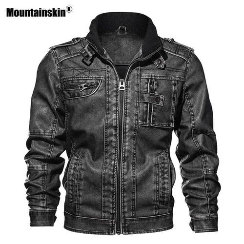 Mountainskin Men's PU Leather Slim Fit  Leather Motorcycle Jacket