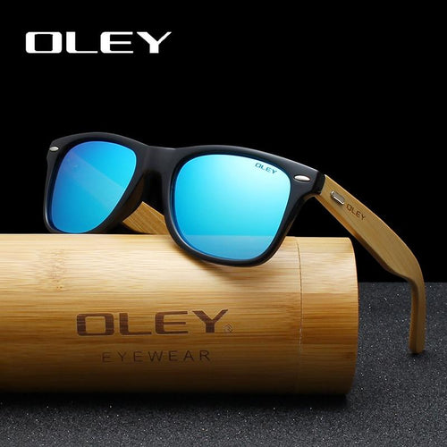 OLEY Bamboo Leg Polarized Classic Square Retro Sunglasses