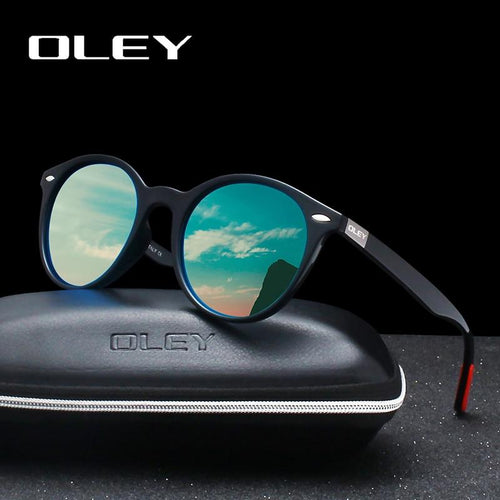OLEY Men Women Classic Retro Rivet Polarized Circular Design UV400 Sunglasses