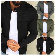 Load image into Gallery viewer, Pleated Patchwork Cardigan Fleece Collared Street Jacket - Black/Grey/Green