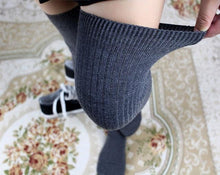 Load image into Gallery viewer, Red / Grey / Dark Gray / Black Knee High Socks