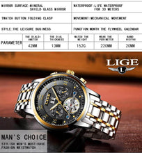 Load image into Gallery viewer, Relogio Masculino LIGE Men's Steel Luxury Automatic Mechanical Business Watch