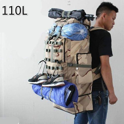 Super 100L Capacity Navy Outdoors Camp Mountaineering Travel Backpack