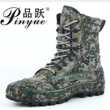 Load image into Gallery viewer, Tactical Waterproof Digital Camo Leather Army Boots