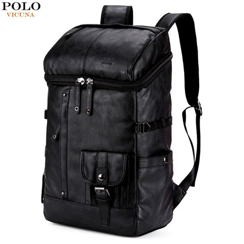 VICUNA POLO High Capacity Leather Men Rucksack For Traveling