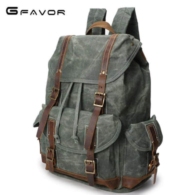 Vintage Oil Wax Canvas Waterproof Travel Shoulder Backpack - Cyan/Grey/Green