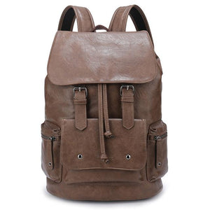 "Waterproof Large Capacity 14"" Laptop Leather Backpack Mochila Black/Brown"