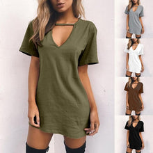 Load image into Gallery viewer, Women's Coffee / Black / White / Green / Grey  V-neck Casual Shirt Dress