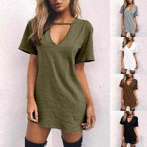 Women's Coffee / Black / White / Green / Grey  V-neck Casual Shirt Dress