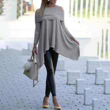 Load image into Gallery viewer, Women's Gray / Black / Blue / White  Solid Long Sleeve Loose Pullover Top