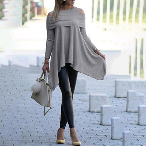 Women's Gray / Black / Blue / White  Solid Long Sleeve Loose Pullover Top