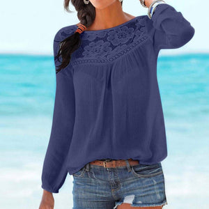 Women's Gray / Navy / Pink Casual Long Sleeve Solid Color Summer Top