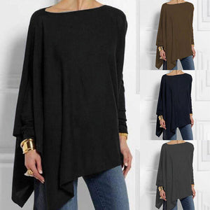 Women's Round Collar Red / Purple / Black / Blue / Brown / Grey / Long Sleeve Loose Top