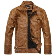 Load image into Gallery viewer, ZOEQO Leather Men's Motorcycle Jacket - Multicolor