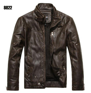 ZOEQO Leather Men's Motorcycle Jacket - Multicolor