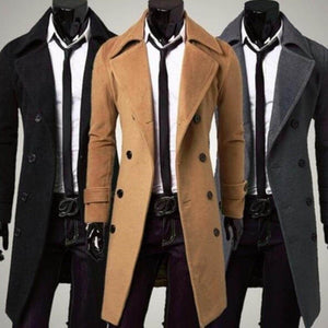 ZOGAA 2019 Men's Woolen Slim Fit Lengthened Trench Coat - 5color