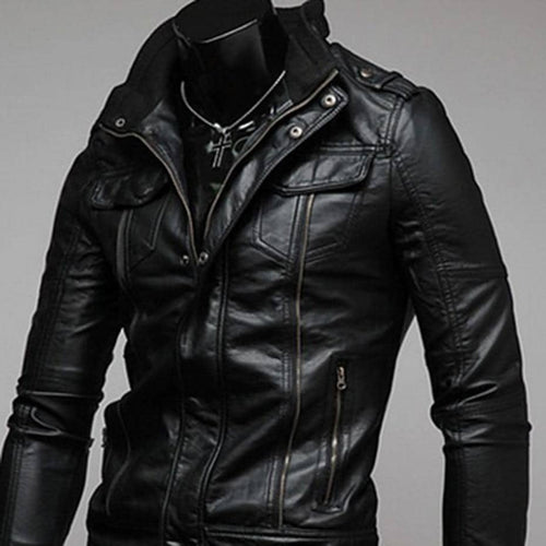 ZOGAA Cavalier PU Leather Vintage Retro Punk Motorcycle Jacket Coat Black/Brown