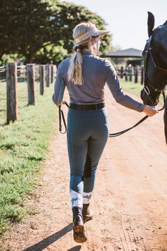 Breeches have floral detail around the ankle which is hidden while wearing riding boots