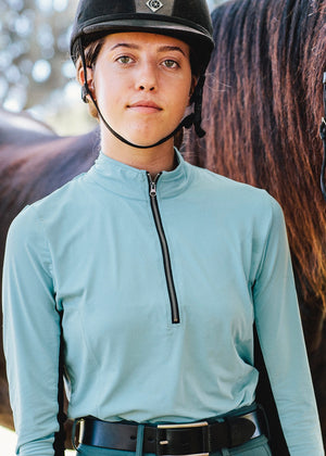Equestrian sun shirt in teal with 3/4 length zipper