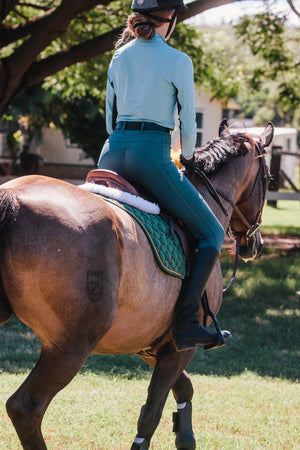 Equestrian sun shirt with black mesh under arms for increased airflow