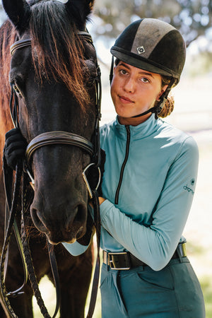 Equestrian sun shirt in a light Tiffany teal color