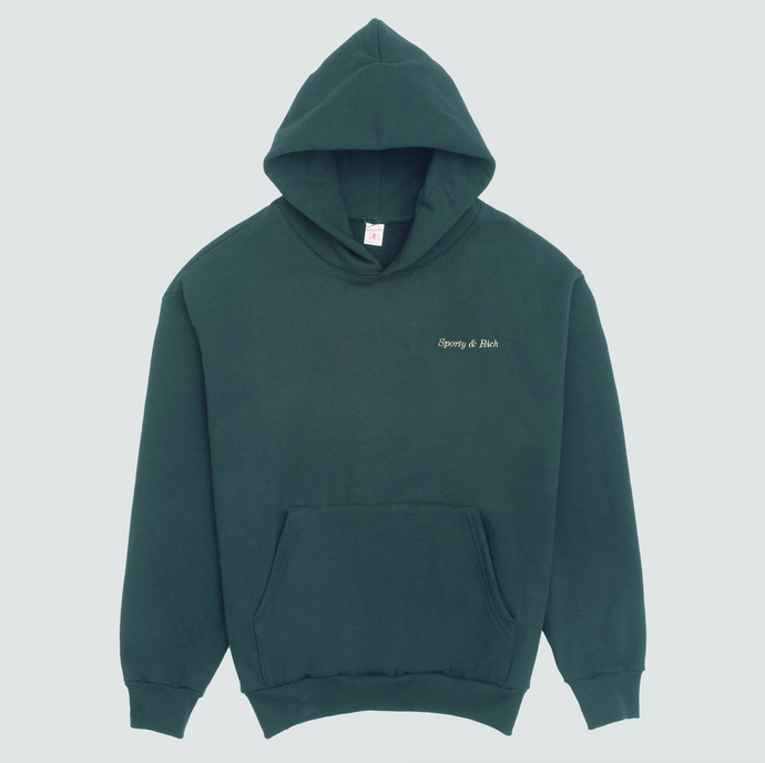 Classic Logo Hoodie, Forest Green/Gold Stitch