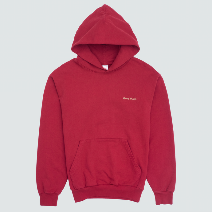 Classic Logo Hoodie, Varsity Red/Gold Stitch