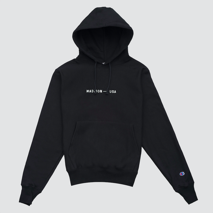 Madison Logo Hoodie, Black/White