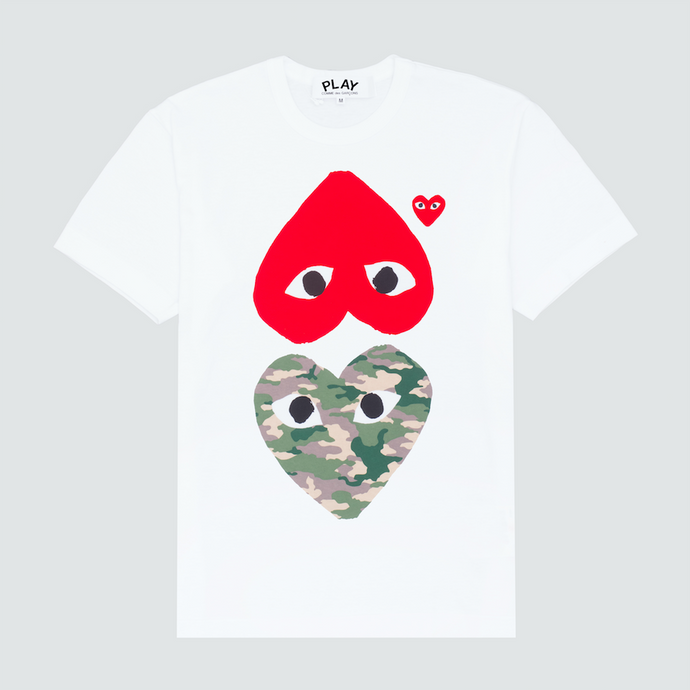 Play Camo Heart & Red Heart T-Shirt, White
