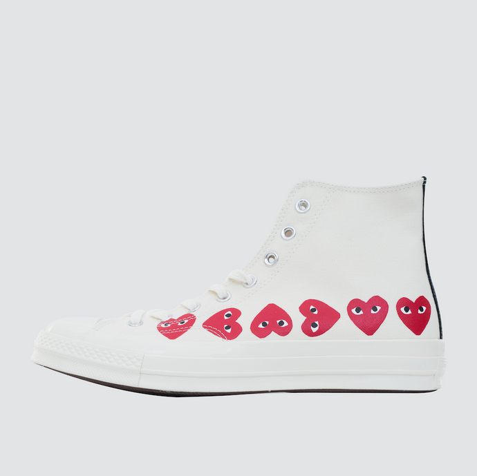 CDG Play Multi Heart Converse 1970 Hi, Off White
