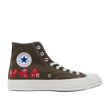 Load image into Gallery viewer, CDG Play Multi Heart Converse 1970 Hi, Khaki