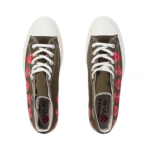 CDG Play Multi Heart Converse 1970 Hi, Khaki