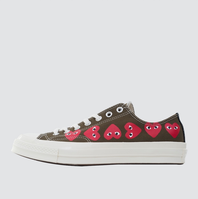 CDG Play Multi Heart Converse 1970 Lo, Khaki