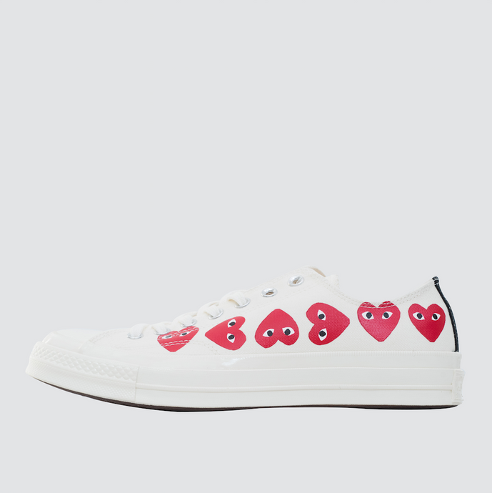 CDG Play Multi Heart Converse 1970 Lo, Off White