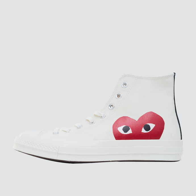 CDG Play Half Heart Converse 1970 Hi, White