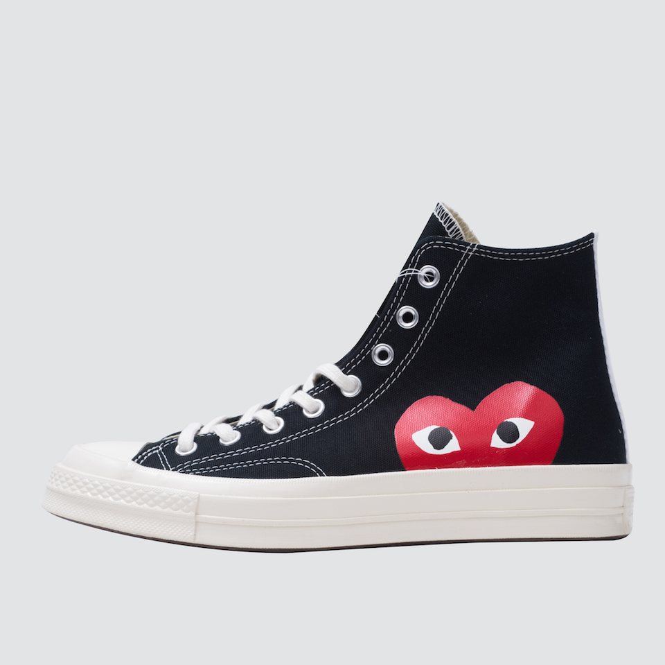 CDG Play Half Heart Converse 1970 Hi, Black