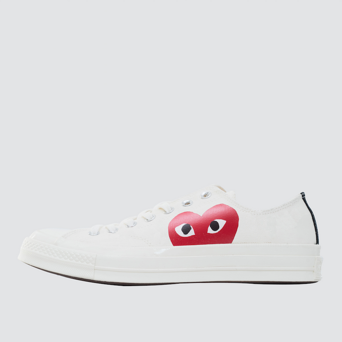 CDG Play Half Heart Converse 1970 Lo, White