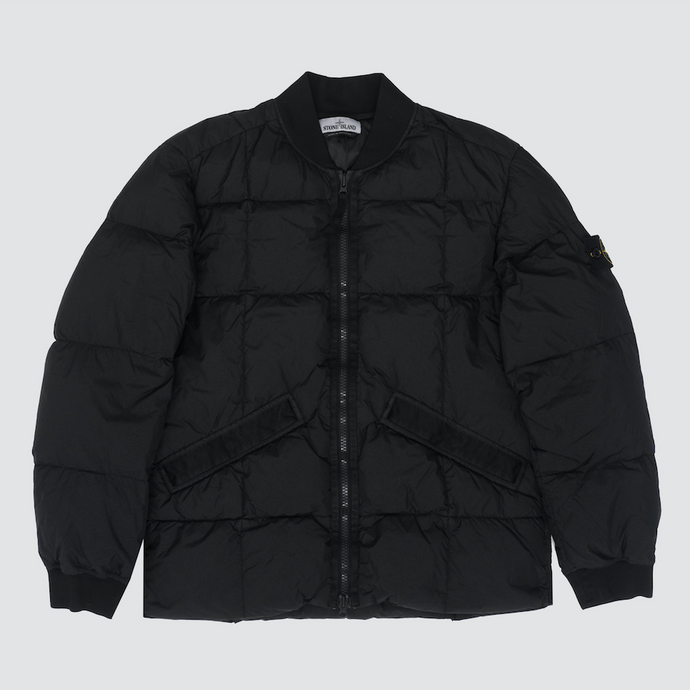 Crinkle Reps Down Bomber Jacket, Black
