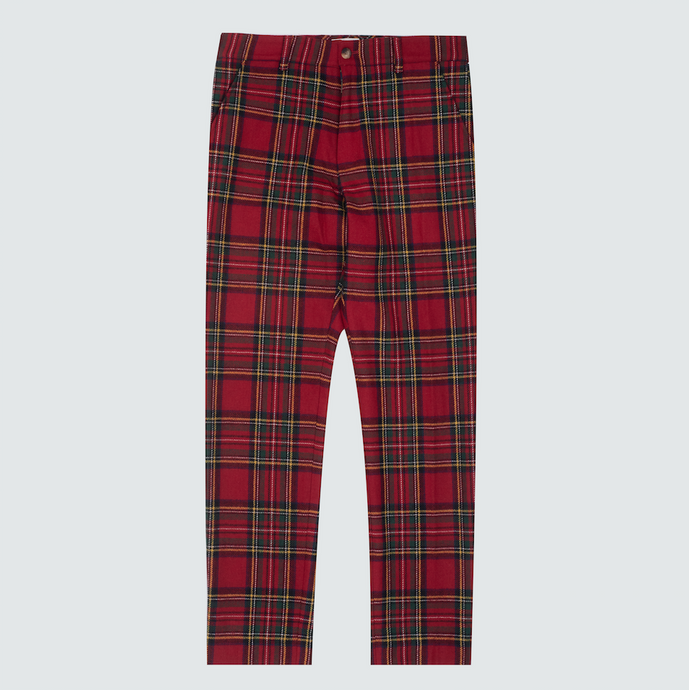 Wool Plaid Trousers, Red
