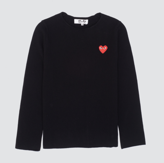 Play Red Heart Crew Neck Jumper, Black