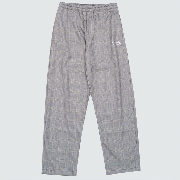 Checked Wool Pants, Grey