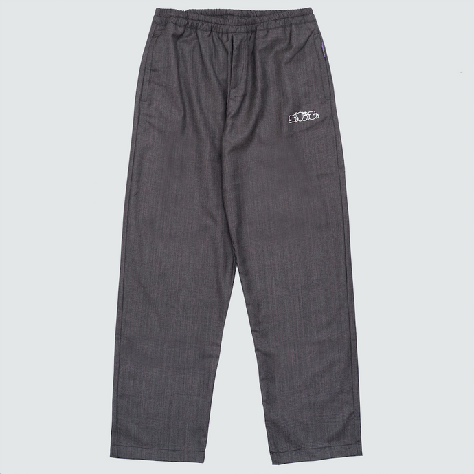 Checked Wool Pants, Navy