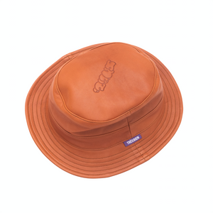 Chesterfield Leather Bucket Hat, Cognac