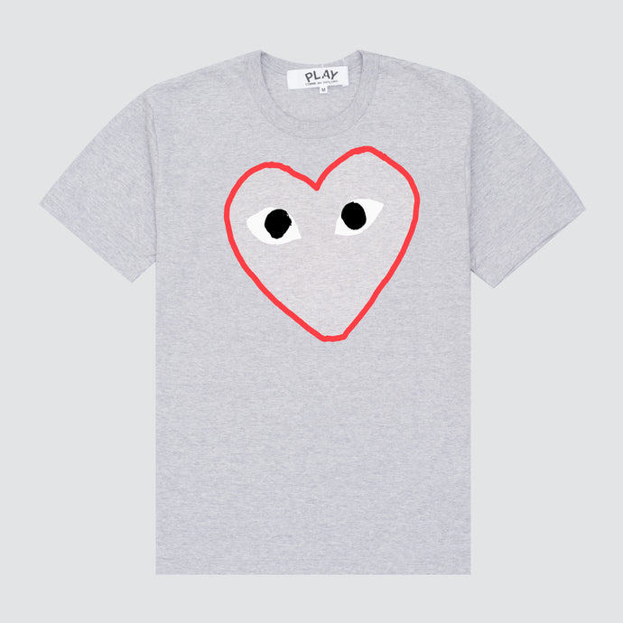 Play Red Heart Sketch T-Shirt, Grey