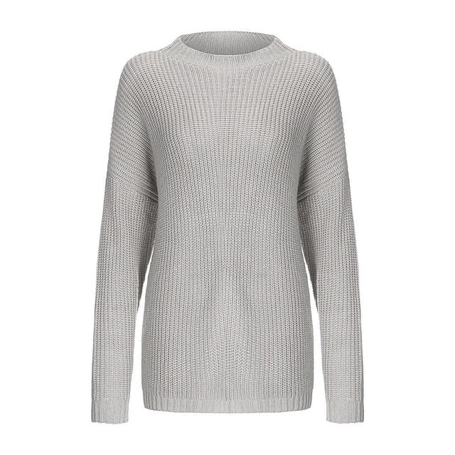 Women Oversize Basic Knitted Turtleneck Sweater