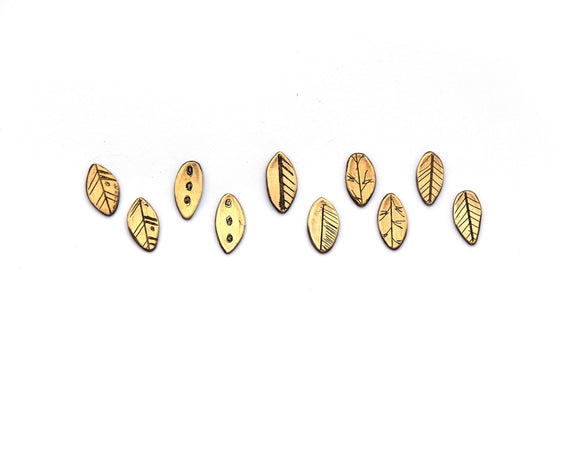 Assorted Brass Leaf Studs (Qty. 1 Pair)
