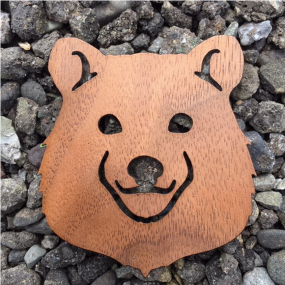 Bear Face Walnut Laser Cut Sticker (Qty. 6)